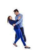 Het jonge aantrekkelijke paar kleedde zich in blauw Royalty-vrije Stock Afbeelding
