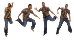 Het jonge Afrikaanse Amerikaanse mens dansen royalty-vrije stock fotografie
