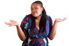Het jonge Afrikaanse Amerikaanse vrouw aarzelen Royalty-vrije Stock Afbeeldingen