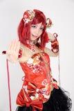Het jonge Aziatische meisje kleedde zich in cosplay kostuum Royalty-vrije Stock Afbeelding