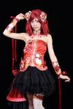 Het jonge Aziatische meisje kleedde zich in cosplay kostuum Royalty-vrije Stock Foto