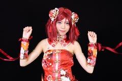 Het jonge Aziatische meisje kleedde zich in cosplay kostuum Royalty-vrije Stock Foto's