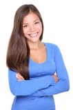Het jonge Aziatische vrouw toevallig glimlachen Stock Foto