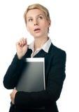 Het jonge bedrijfsvrouw denken Stock Afbeeldingen