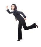 Het jonge bedrijfsvrouw lopen royalty-vrije stock foto's