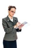 Het jonge Bedrijfsvrouw ondertekenen Royalty-vrije Stock Foto