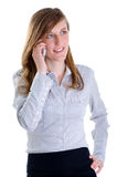 Het jonge bedrijfsvrouwentelefoon spreken Stock Foto's