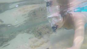 Het jonge blondemeisje in bikini met mooi cijfer snorkelt onderwater in Indische Oceaan in Sri Lanka stock videobeelden