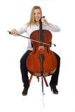 Het jonge cellist spelen Stock Foto