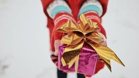 Het jonge charmante schoolmeisje in vuisthandschoenen geeft een gift, bekijkend de camera in de de winter bosa verpakte doos met  stock footage