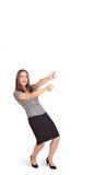 Het jonge dame gesturing met exemplaarruimte royalty-vrije stock afbeelding