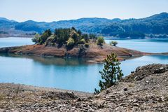 Het jonge dennenbos op de verre eilandachtergrond in Aoos springt Meer in Metsovo in Epirus op stock afbeelding