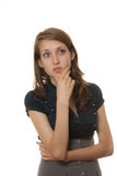 Het jonge elegante vrouw denken Stock Fotografie