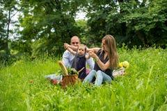 Het jonge familie spelen in aard stock foto's