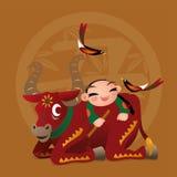 Het jonge geitje houdt van speel met Chinees dierenriemdier - Os Royalty-vrije Stock Foto