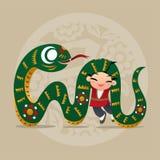 Het jonge geitje houdt van speel met Chinees dierenriemdier - Slang Royalty-vrije Stock Fotografie