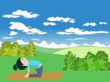 Het jonge geitje` s yoga van de beeldverhaalillustratie vector illustratie