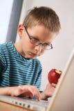 Het jonge geitje van de computer. Het eten van appel Royalty-vrije Stock Afbeelding