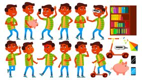 Het Jonge geitje van de jongensschooljongen stelt Vastgestelde Vector Hindoese Indiër, Aziatisch Lage schoolkind Kinderen Glimlac vector illustratie