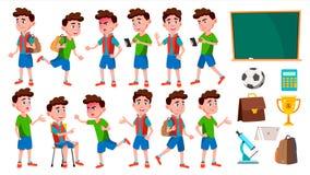 Het Jonge geitje van de jongensschooljongen stelt Vastgestelde Vector Lage schoolkind Leuk kind Gelukplezier Toejuiching, vrij vo stock illustratie