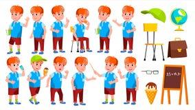 Het Jonge geitje van de jongensschooljongen stelt Vastgestelde Vector Lage schoolkind Mooi jong geitje Alfabet De Kaukasische jeu stock illustratie