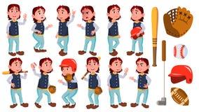 Het Jonge geitje van de jongensschooljongen stelt Vastgestelde Vector Lage schoolkind De Speler van de Sport van het honkbal Glim vector illustratie