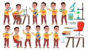 Het Jonge geitje van de jongensschooljongen stelt Vastgestelde Vector Middelbare schoolkind Kindleerling Universiteit, Gediplomee stock illustratie