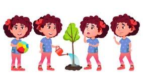 Het Jonge geitje van de meisjeskleuterschool stelt Vastgestelde Vector Babyuitdrukking life Voor Prentbriefkaar, Aankondiging, De royalty-vrije illustratie