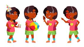 Het Jonge geitje van de meisjeskleuterschool stelt Vastgestelde Vector Hindoese Indiër, Aziatisch Vrij Positieve Baby leisure spe vector illustratie