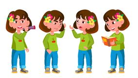 Het Jonge geitje van de meisjeskleuterschool stelt Vastgestelde Vector Weinig kind Het hebben van pret motherhood Voor Reclame, G vector illustratie