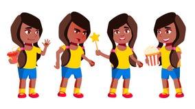 Het Jonge geitje van de meisjeskleuterschool stelt Vastgestelde Vector zwart Afro Amerikaan Vrij Positieve Baby leisure Voor Pren stock illustratie