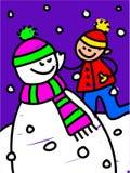 Het jonge geitje van de sneeuwman Royalty-vrije Stock Foto's