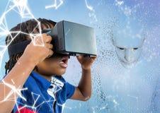 Het jonge geitje in VR tegen 3D mannetje gaf binaire code tegen blauwe achtergrond en wit netwerk gestalte Royalty-vrije Stock Foto's