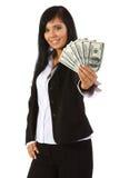 Het jonge geld van de vrouwenholding Royalty-vrije Stock Afbeelding