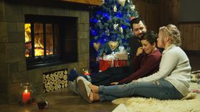 Het jonge gelukkige familie ontspannen op een ruwharige deken stock video