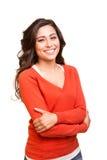 Het jonge het glimlachen vrouw stellen Stock Afbeeldingen