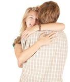 Het jonge het houden van paar omhelzen Stock Afbeelding