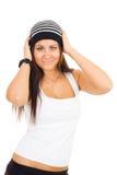 Het jonge hoofd van de vrouwenholding met handen Royalty-vrije Stock Fotografie