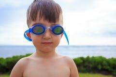 Het jonge Hoofd van Zwemmerswith goggles on royalty-vrije stock foto