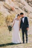Het jonge huwelijkspaar lopen royalty-vrije stock foto's