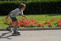 Het jonge jongen gealigneerde schaatsen. Royalty-vrije Stock Fotografie