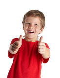 Het jonge jongen geven u beduimelt omhoog royalty-vrije stock afbeeldingen