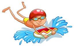 Het jonge jongen zwemmen Stock Foto