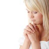 Het jonge Kaukasische vrouw bidden Stock Afbeelding