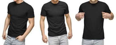 Het jonge mannetje in lege zwarte t-shirt, voor en achtermening, isoleerde witte achtergrond De t-shirtmalplaatje en model van on