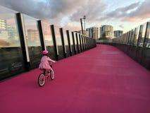 Het jonge meisje berijdt een fiets op heldere roze cycleway in Nieuw Auckland Stock Fotografie