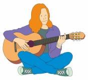 Het jonge meisje die de gitaar spelen en stelt muziek samen Vector leuk karakter stock illustratie
