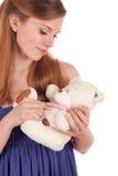 Het jonge meisje herinnert aan kinderjaren Stock Foto's