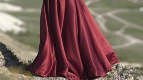 Het jonge meisje houdt de boord van de purpere kleding in de wind de vouwen van de stof in de zon worden gegoten stock footage