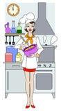 Het jonge meisje koken in de keuken Royalty-vrije Stock Foto